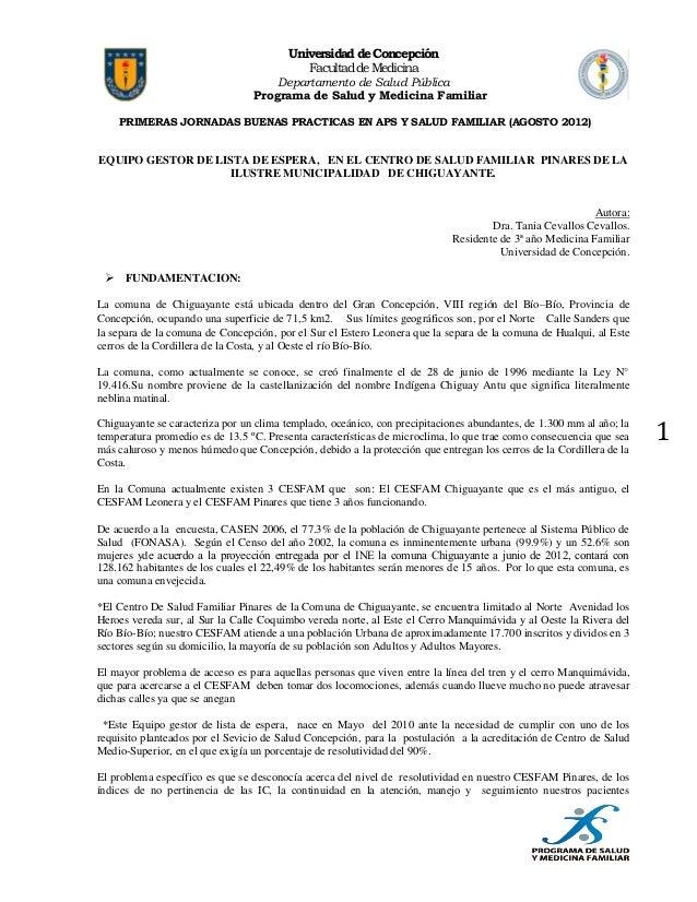 Universidad de Concepción Facultad de Medicina  Departamento de Salud Pública Programa de Salud y Medicina Familiar PRIMER...