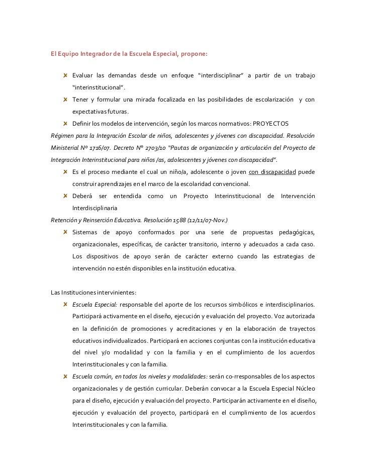 """El Equipo Integrador de la Escuela Especial, propone:        Evaluar las demandas desde un enfoque """"interdisciplinar"""" a pa..."""