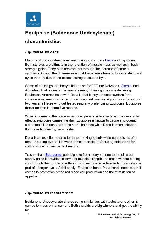 Equipoise (boldenone undecylenate) characteristics