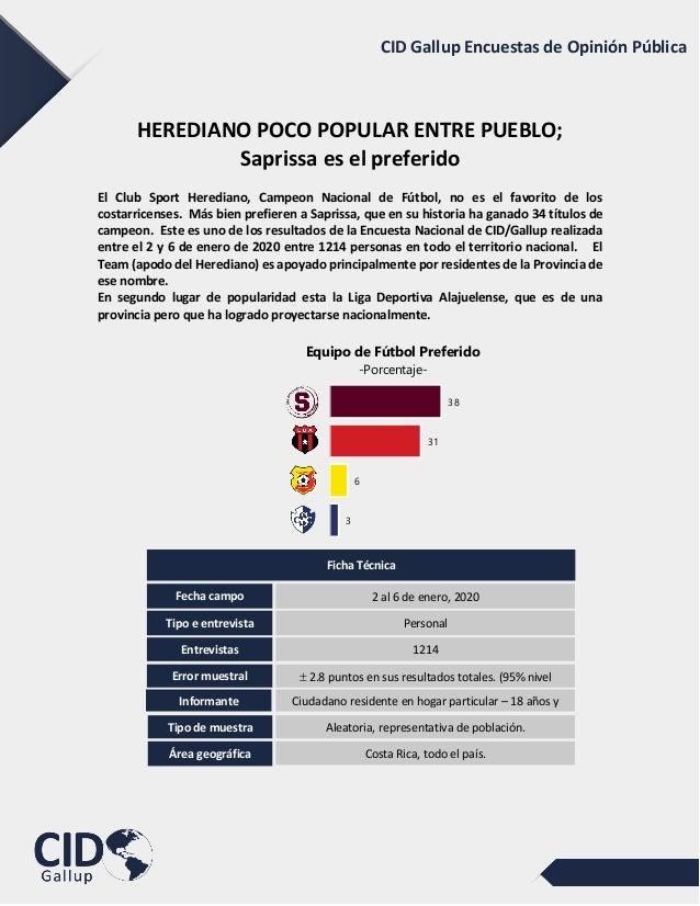 CID Gallup Encuestas de Opinión PúblicaHEREDIANO POCO POPULAR ENTRE PUEBLO;Saprissa es el preferidoEl Club Sport Heredi...