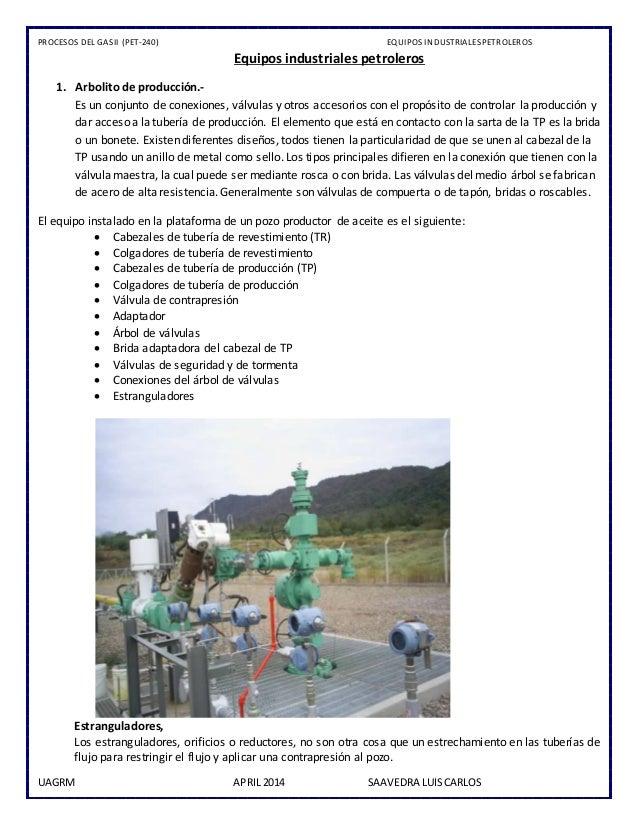 PROCESOS DEL GASII (PET-240) EQUIPOS INDUSTRIALESPETROLEROS UAGRM APRIL 2014 SAAVEDRA LUISCARLOS Equipos industriales petr...