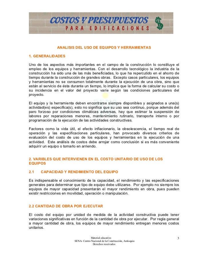 Equipos y herramientas for Presupuesto de obra de construccion pdf
