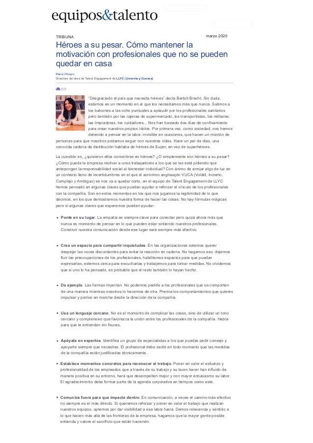 Análisis de María Obispo en Equipos & Talento