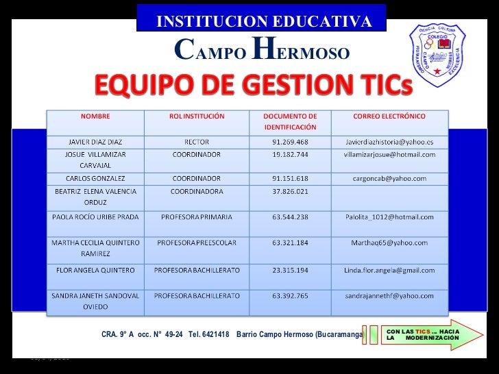 08/04/2010 INSTITUCION EDUCATIVA C AMPO  H ERMOSO CRA. 9° A  occ. N°  49-24  Tel. 6421418  Barrio Campo Hermoso (Bucaraman...