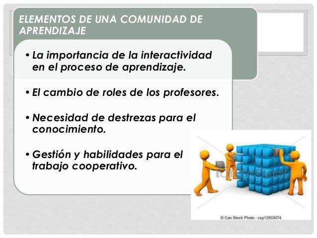 ELEMENTOS DE UNA COMUNIDAD DE APRENDIZAJE •La importancia de la interactividad en el proceso de aprendizaje. •El cambio de...