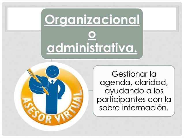 Organizacional o administrativa. Gestionar la agenda, claridad, ayudando a los participantes con la sobre información.
