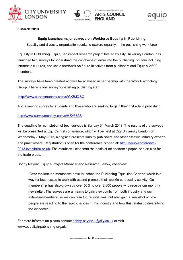 6 March 2013             Equip launches major surveys on Workforce Equality in Publishing      Equality and diversity orga...