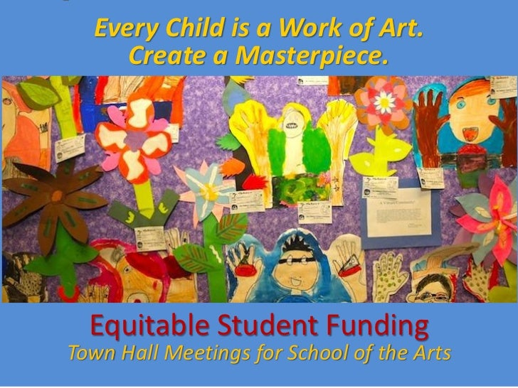 Every Child is a Work of Art.     Create a Masterpiece.  Equitable Student FundingTown Hall Meetings for School of the Arts