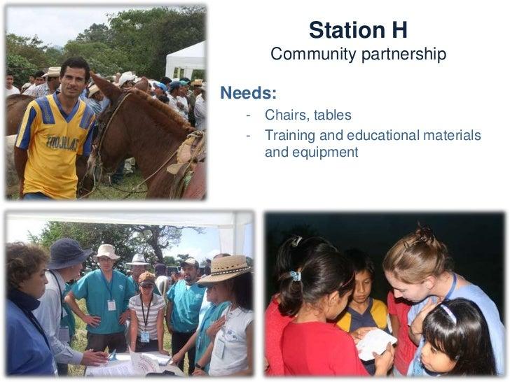Station H          Community partnershipActivities:   -   Participatory exercises   -   Children activities   -   Interpla...