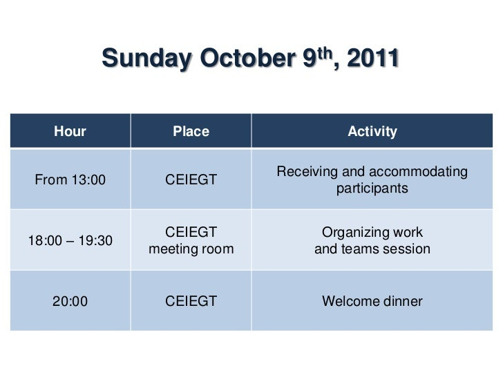 Monday October 10th, 2011    Hour           Place                 Activity                Dining room07:00 – 08:00        ...