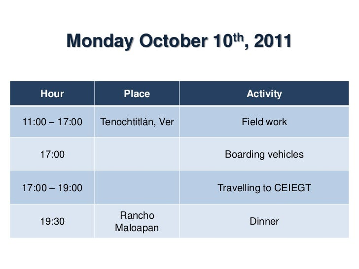 Tuesday October 11th, 2011    Hour           Place                    Activity                Dining room07:00 – 08:00    ...