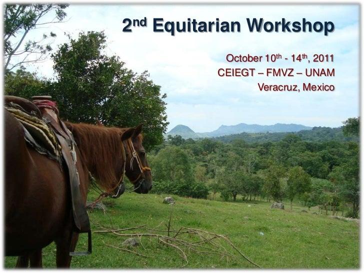 DescriptionIn 2011, CEIEGT-FMVZ-UNAM will host the 2nd Equitarian Workshop.Professionals, technicians and students interes...