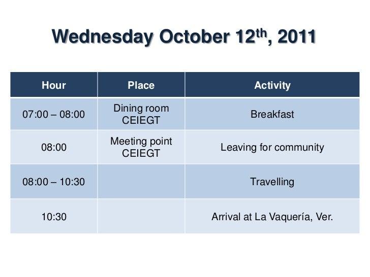 Wednesday October 12th, 2011    Hour           Place             Activity                La Vaquería,10:30 – 16:30        ...
