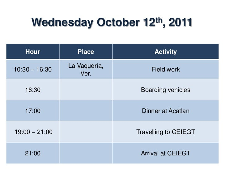 Thursday October 13th, 2011    Hour           Place               Activity                Dining room07:00 – 08:00        ...