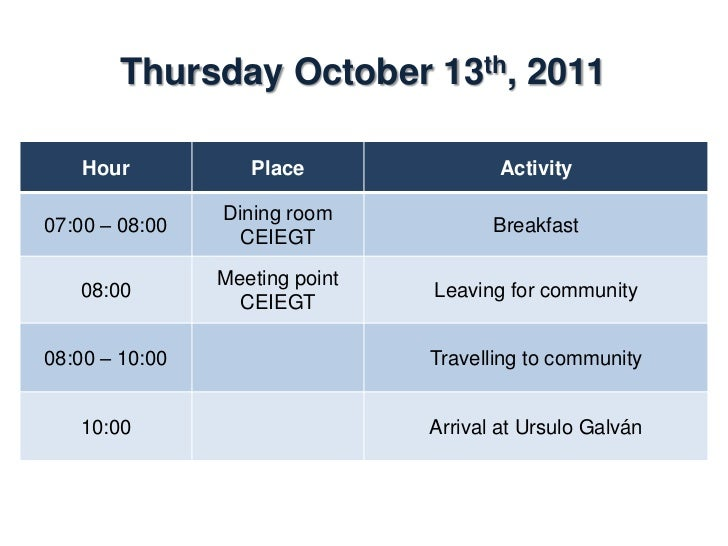 Thursday October 13th, 2011    Hour            Place              Activity                Ursulo Galvan/10:00 – 16:00     ...
