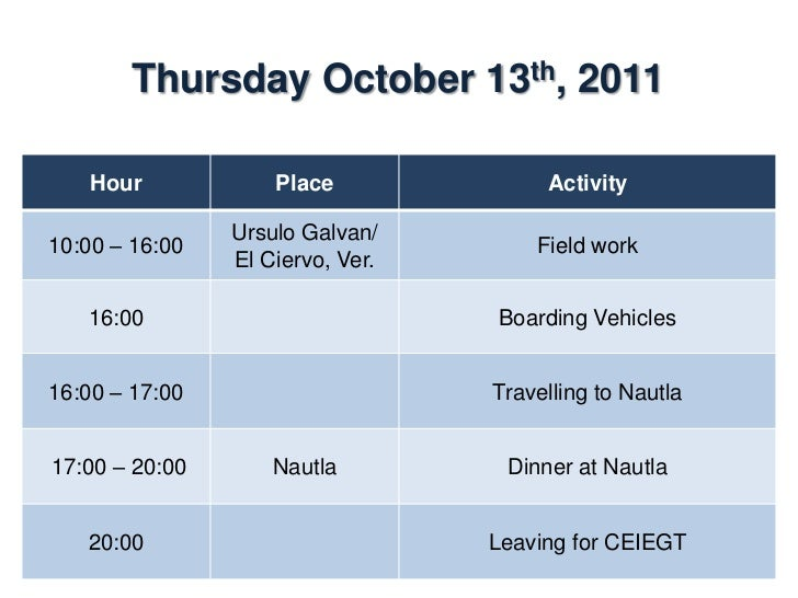 Friday October 14th, 2011    Hour           Place            Activity                Dining room08:00 – 09:00             ...
