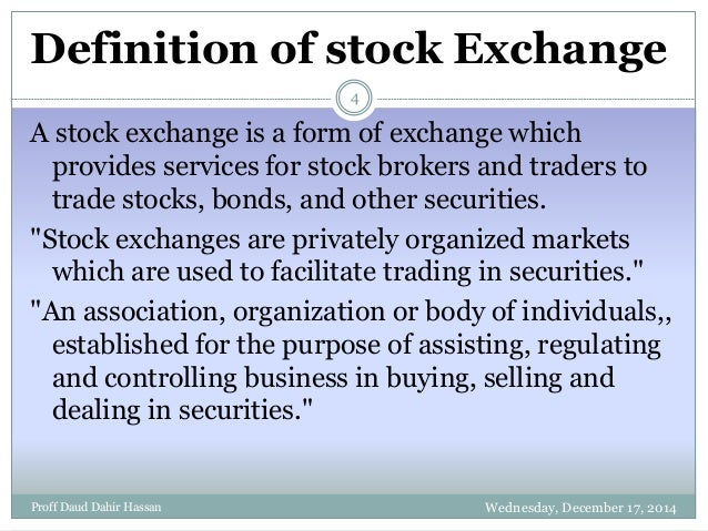 equity and stock market exchange