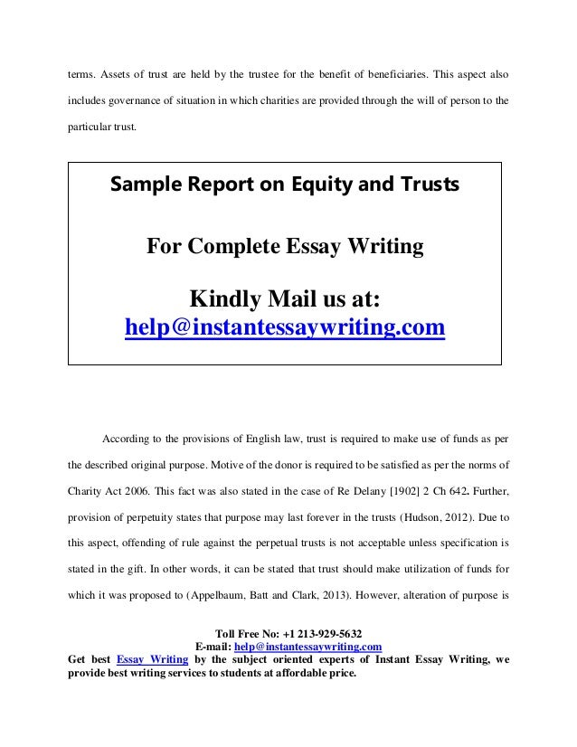 sample on equity and trusts by instant essay writing