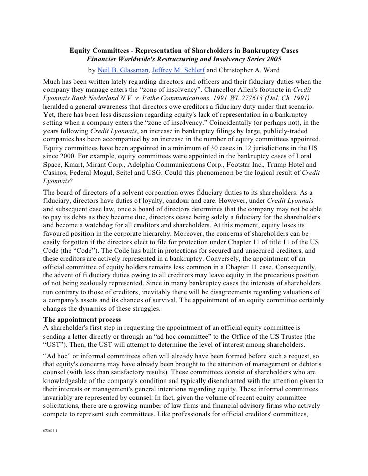 Equity Committees - Representation of Shareholders in Bankruptcy Cases                 Financier Worldwide's Restructuring...