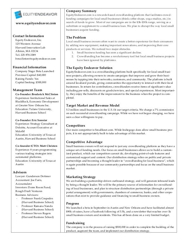 1   www.equityendeavor.com    Contact Information  Equity Endeavor, Inc.  125 Western Avenue  Harvard Innovati...