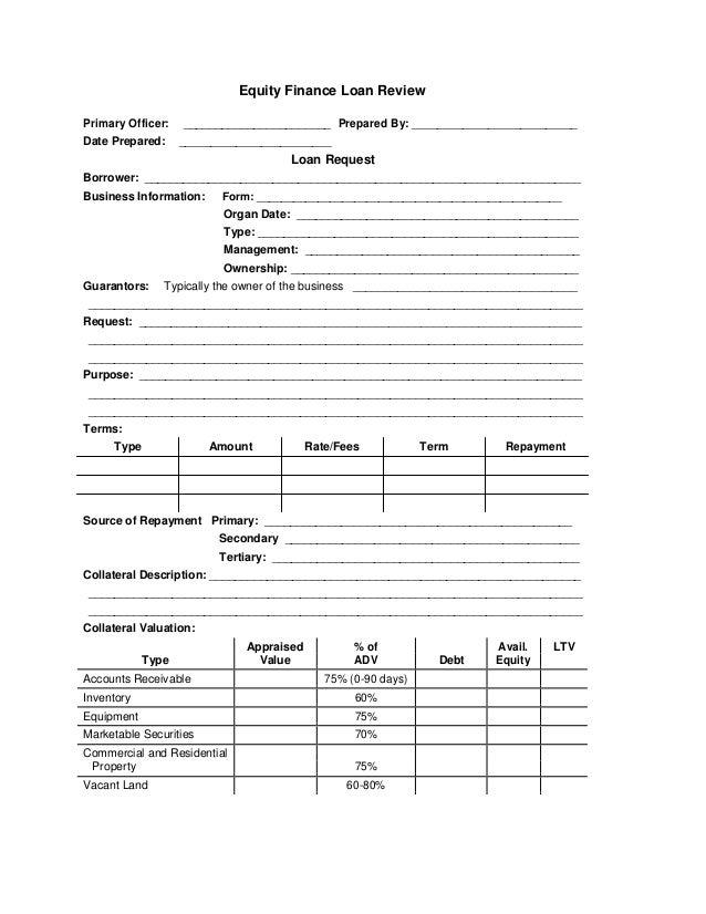 Equity finance loan form application