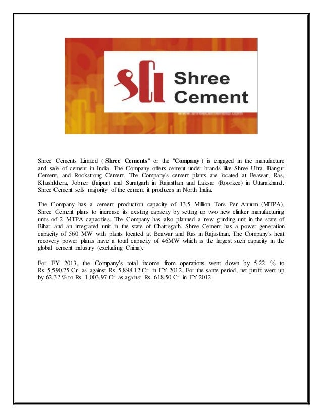 Shree Ultra Cement : Equity research on cement sector