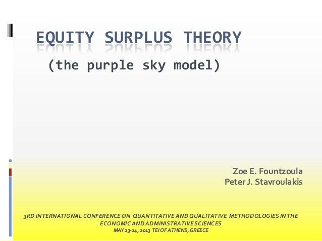 EQUITY SURPLUS THEORY (the purple sky model)  Zoe E. Fountzoula Peter J. Stavroulakis  3RD INTERNATIONAL CONFERENCE ON QUA...