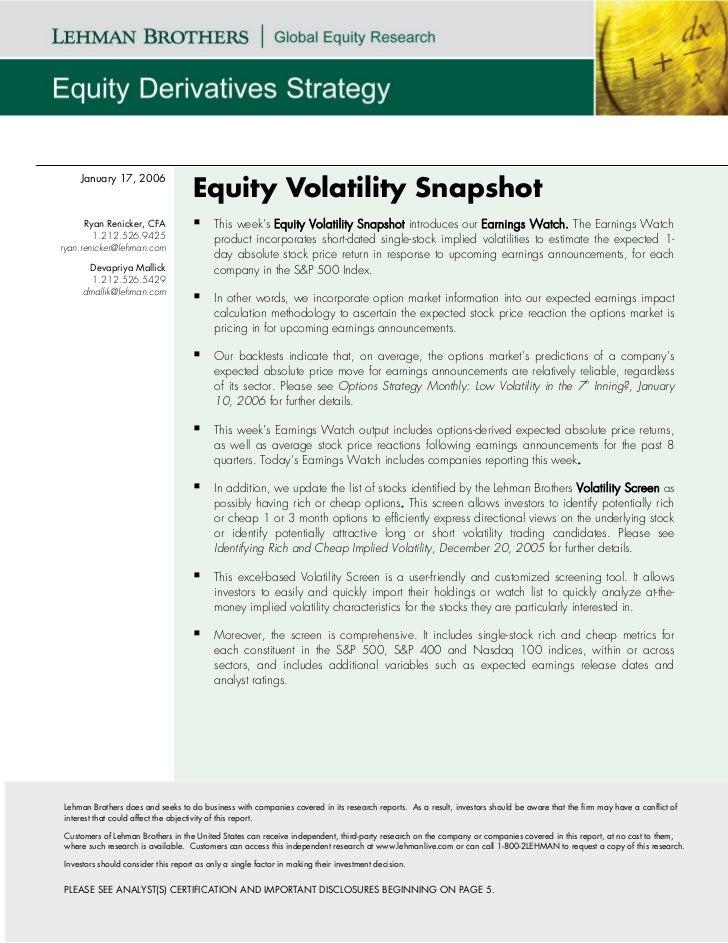 January 17, 2006                                    Equity Volatility Snapshot      Ryan Renicker, CFA                  Th...