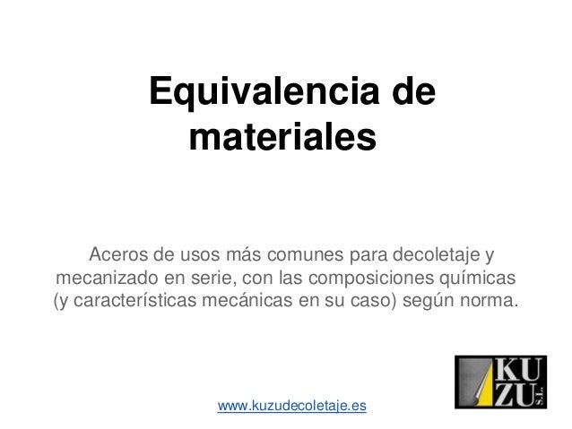 Equivalencia dematerialesAceros de usos más comunes para decoletaje ymecanizado en serie, con las composiciones químicas(y...