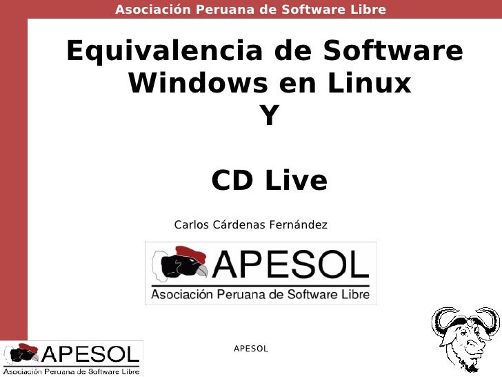 Equivalencia de Software  Windows en Linux Y CD Live Carlos Cárdenas Fernández