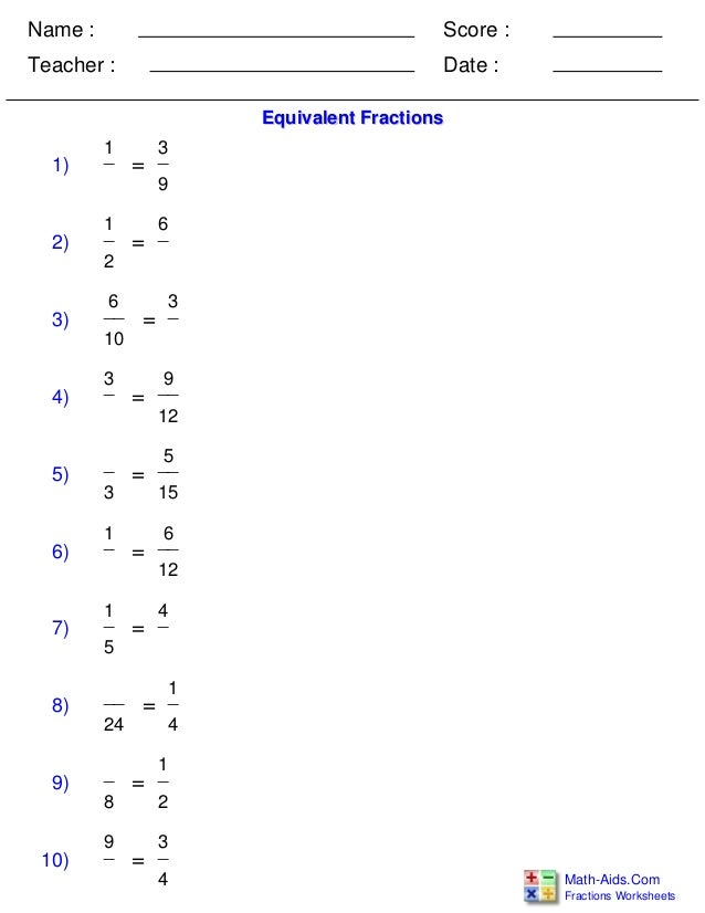 Equivalent Fraction Problems