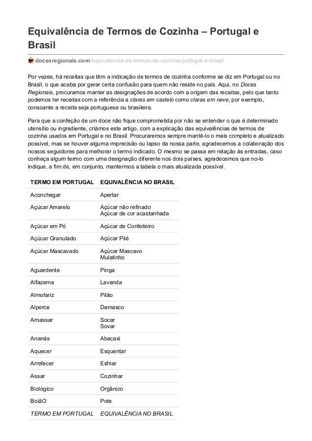Equivalência de Termos de Cozinha – Portugal e Brasil docesregionais.com/equivalencia-de-termos-de-cozinha-portugal-e-bras...