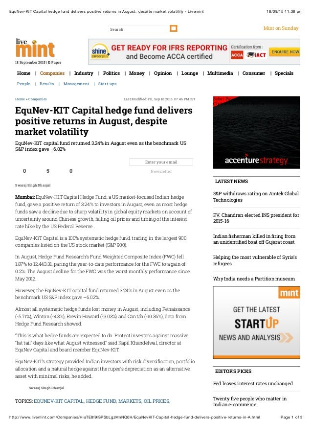 18/09/15 11:36 pmEquNev-KIT Capital hedge fund delivers positive returns in August, despite market volatility - Livemint P...