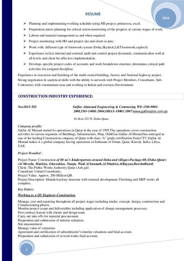 Seeking a position as an Quantity surveyer/Project