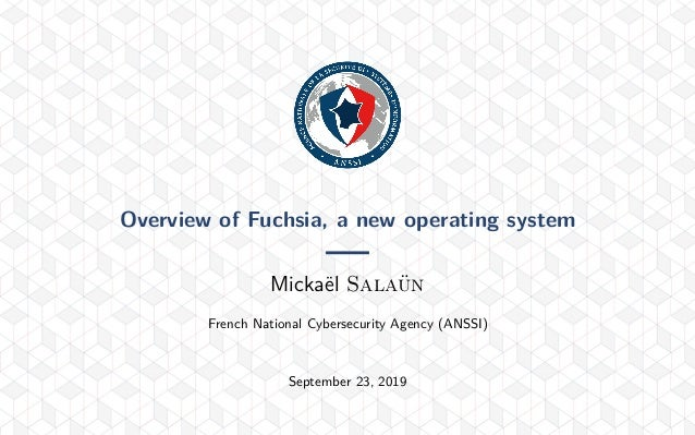 Overview of Fuchsia, a new operating system Mickaël Salaün French National Cybersecurity Agency (ANSSI) September 23, 2019