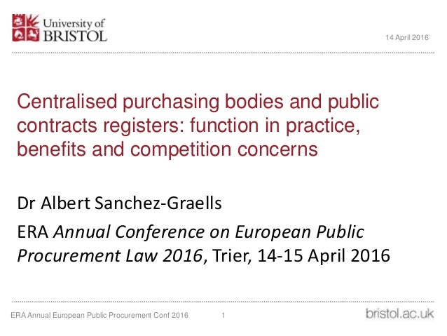 Centralised purchasing bodies and public contracts registers: function in practice, benefits and competition concerns Dr A...