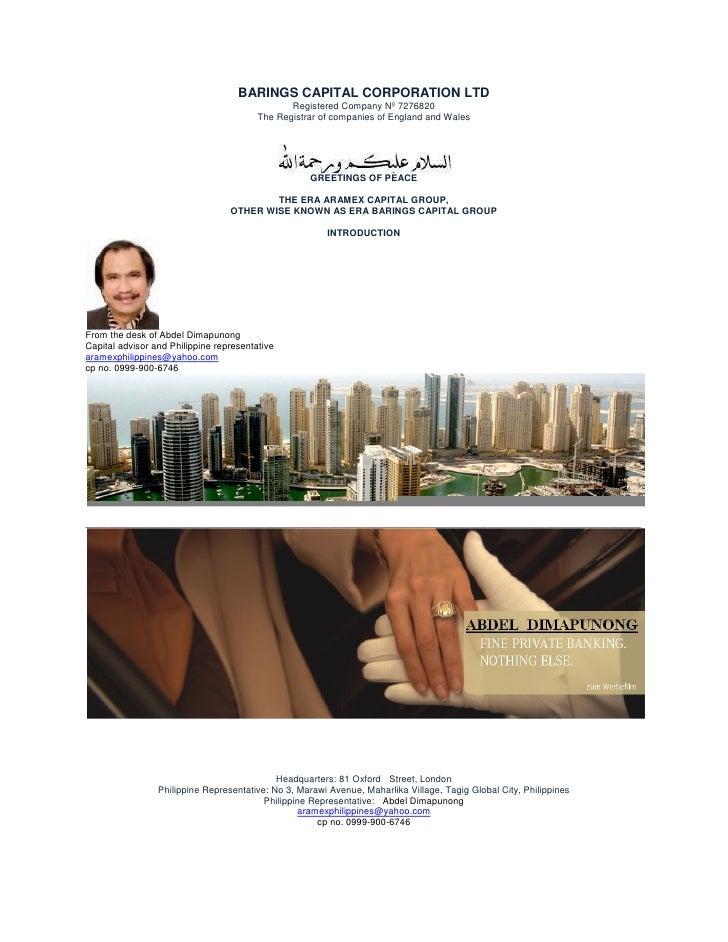 BARINGS CAPITAL CORPORATION LTD                                                Registered Company Nº 7276820              ...