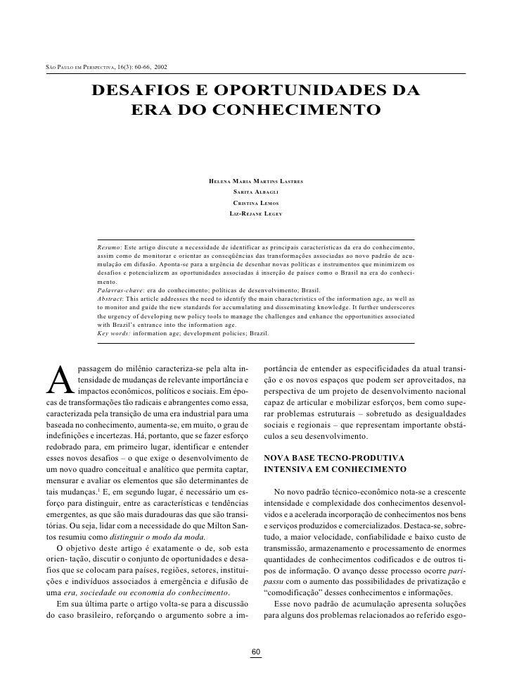 SÃO PAULO EM PERSPECTIVA, 16(3): 2002 2002  ÃO AULO EM ERSPECTIVA 16(3) 60-66,                    DESAFIOS E OPORTUNIDADES...