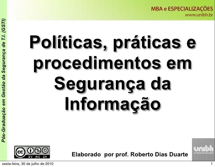 Disciplina  Política e Procedimentos na Segurança da Informação