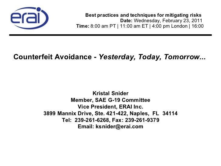 Best practices and techniques for mitigating risks  Date:  Wednesday, February 23, 2011  Time:  8:00 am PT | 11:00 am ET...
