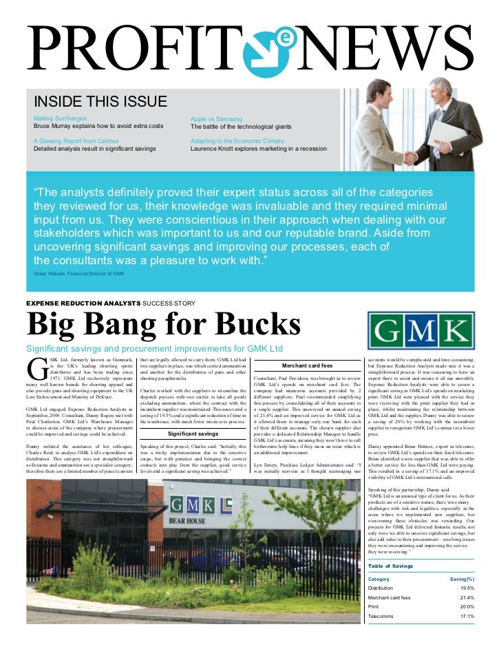 PROFIT NEWS   INSIDE THIS ISSUE   Mailing Surcharges                                                               Apple v...