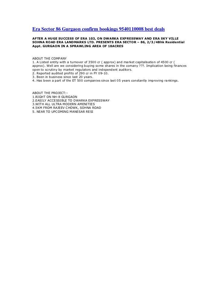 "HYPERLINK ""http://nriresidency.blogspot.com/2011/07/era-sector-85-gurgaon-confirm-bookings.html"" Era Sector 86 Gurgaon co..."