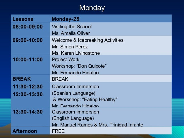MondayMonday Lessons Monday-25 08:00-09:00 Visiting the School Ms. Amalia Oliver 09:00-10:00 Welcome & Icebreaking Activit...