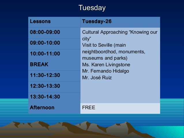"""TuesdayTuesday Lessons Tuesday-26 08:00-09:00 Cultural Approaching """"Knowing our city"""" Visit to Seville (main neightboordho..."""