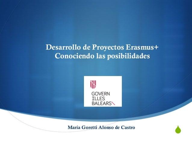 """"""" Desarrollo de Proyectos Erasmus+ Conociendo las posibilidades María Goretti Alonso de Castro"""