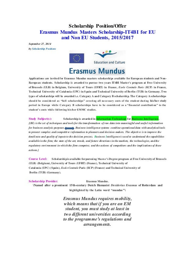 Scholarship Position/Offer Erasmus Mundus Masters Scholarship-IT4BI ...