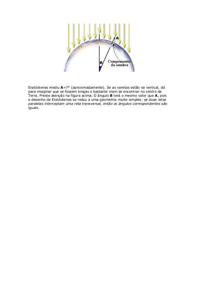 Eratóstenes mediu A=7° (aproximadamente). Se as varetas estão na vertical, dápara imaginar que se fossem longas o bastante...