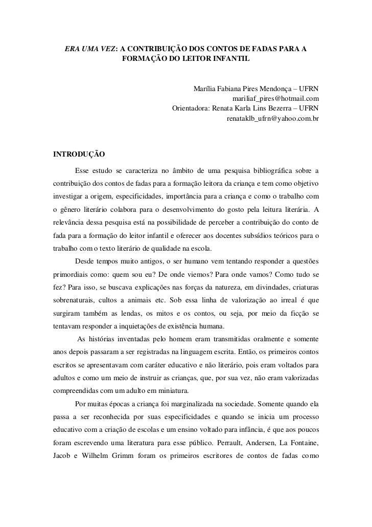 ERA UMA VEZ: A CONTRIBUIÇÃO DOS CONTOS DE FADAS PARA A                 FORMAÇÃO DO LEITOR INFANTIL                        ...