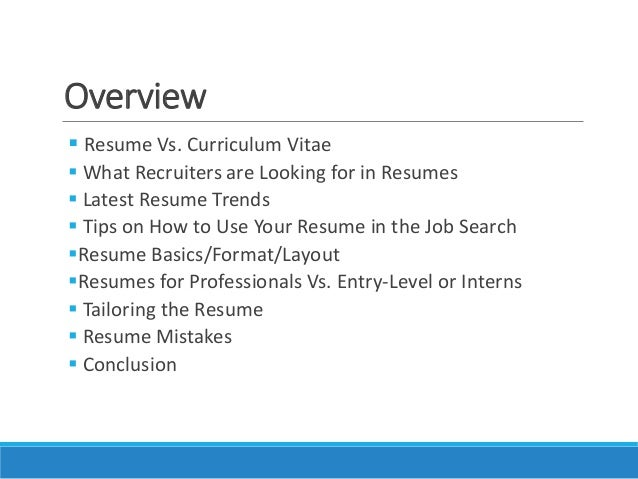 ... 5. Overview  Resume ...