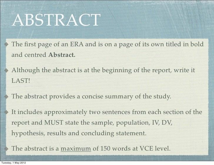 how to write an era report
